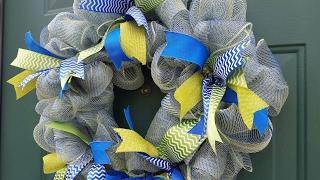DIY Blue & Green Deco Mesh Wreath