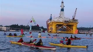 """Battling the Death Star"": Seattle ""Kayaktivists"" Slow Arctic-Bound Shell Oil Rig as Fight Goes On"