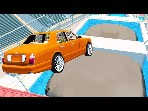 BeamNG Drive - Giant Inflatable trampoline High speed Jumps
