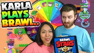 MY WIFE PLAYS BRAWL STARS FOR THE FIRST TIME.... (WARNING: NOOB ALERT)