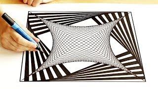 Рисование квадрата с абстрактной сеткой, drawing abstract square with grid