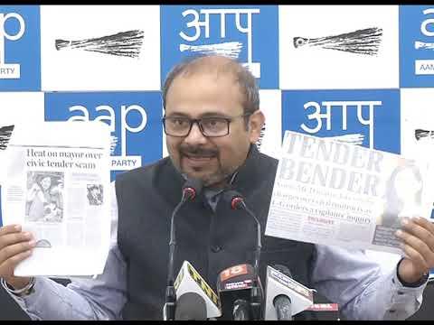Aap Leader Dilip Pandey Briefs media on Tender cam Involving BJP North MCD Mayor