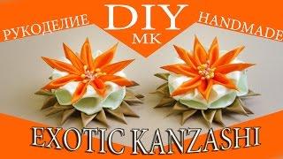 Экзотическая резиночка для волос с цветком Канзаши. МК / Exotic rubber band hair flower Kanzashi