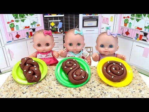 Куклы Пупсики Лепим Булочки с Плей До Поем Детская Песенка Единорожка #Игрушки 108мама тв