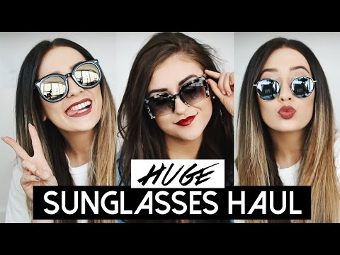 HUGE SUNGLASSES TRY-ON HAUL + GIVEAWAY FT. SARAH BELLE! | Caitlin Bea