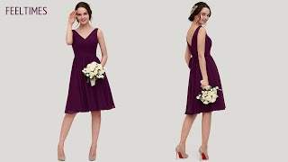 Bridesmaid Dress M18165B丨 V Neck Knee-Length Chiffon Bridesmaid Dress With Pleated - FeelTimes