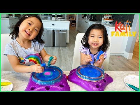 Emma and Kate Spin Art and More 1 hr kids activities at home!!!