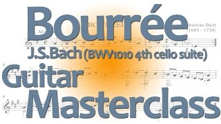 Bach Bourree for Guitar: Full Lesson for classical guitar (BWV1010)