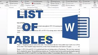 How to make table captions and a list of tables in word