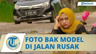 Viral Aksi Pasutri di Lampung Kritik Jalan Rusak sebagai Obyek Foto Bak Model, Mencuci di Kubangan