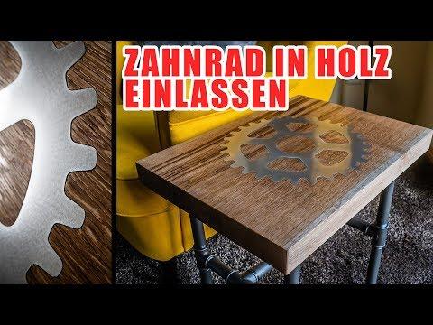 🔥 Beistelltisch, Couchtisch, Designer Tisch selber bauen und Zahnrad einlassen