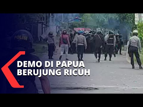 bentrok dengan polisi demo di sorong papua berujung ricuh