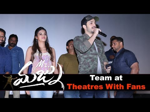 Mr. Majnu Movie Team At Theatres With Fans