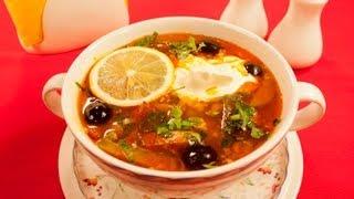 Смотреть онлайн Как приготовить солянку с колбасой и мясом
