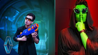 Find The Alien In Area 51 NERF Challenge!