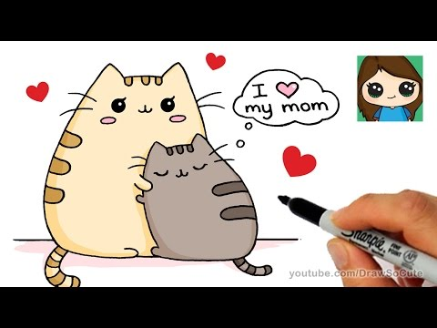 How to Draw Mother's Day Pusheen Cat Easy
