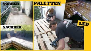 Balkon günstig & einfach neu gestalten mit Paletten Möbeln