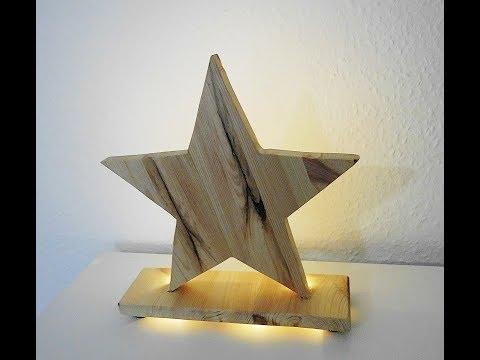 Holzstern mit LED Beleuchtung / Natur / Handgemacht