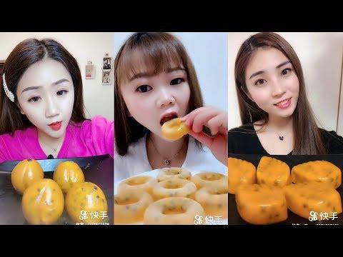 Donmuş Çarkıfelek Meyvesi (Tutku Meyvesi) Yemek - ASMR #154 (Frozen Passion Fruit Eating)