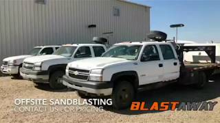 Check out Blastaway's Offsite Sandblasting Fleet! Located in Grande Prairie, AB