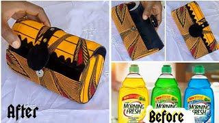DIY Ankara Clutch Purse From Plastic Bottle// No Sew