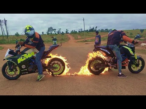 Download Fire Burnout & Stunning Stunts on KTM DUKE 200, KTM RC 200 & HONDA DIO By Team LSi HD Mp4 3GP Video and MP3
