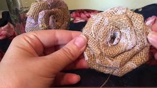Burlap And Lace Rose. How To Make Burlap And Lace Roses. Burlap Wedding Roses.