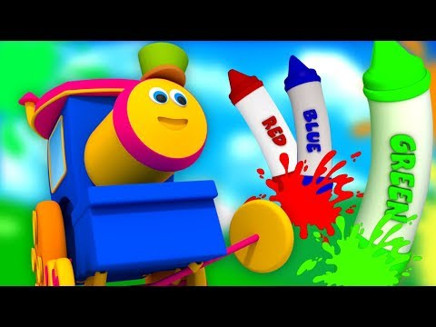 Bob kereta api | krayon warna lagu | belajar warna | Bob The Train | Bob Crayons Colors Song