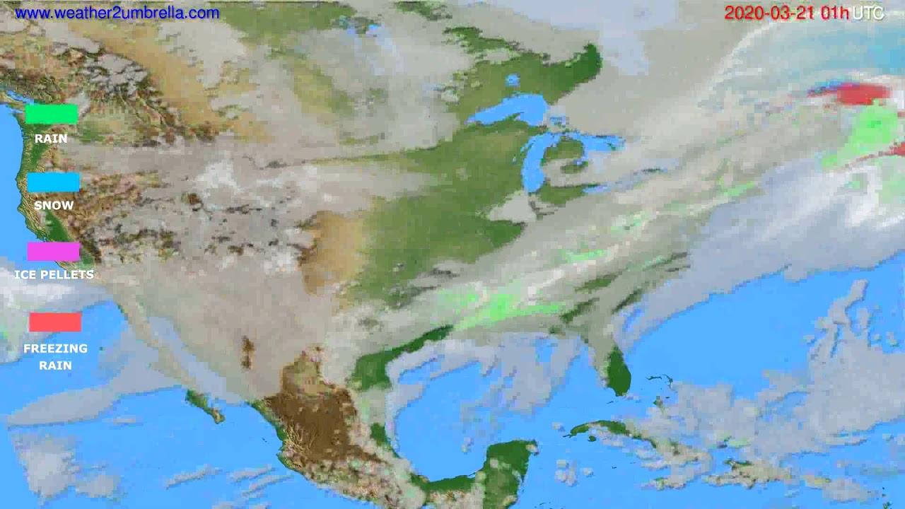 Precipitation forecast USA & Canada // modelrun: 12h UTC 2020-03-19