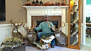 Man Cave Tour!! | All My Fish And Deer Mounts