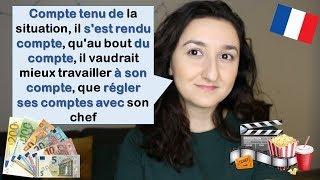 Урок#171: Французский по песням и фильмам. Выражения со словом compte
