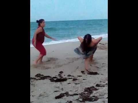 Yoga practice at the beach