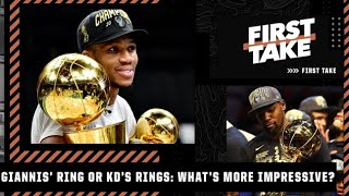 Giannis' ring or Kevin Durant's 2 rings: Which would you rather have? First Take debates