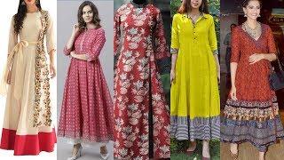 56+ Trendi & Most Demanding Cotton Casual,party Wear Long Maxi Dresses //Long Frock Kurti Design