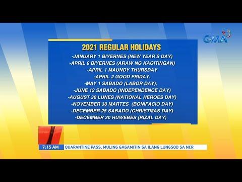 [GMA]  UB: 2021 holidays