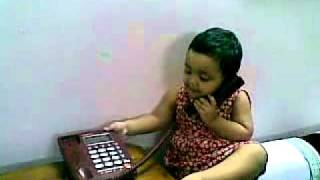 Bangla kid funny video - baby girl talking over phone 18082010
