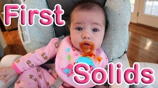 BABY STARTS SOLIDS AT 4 MONTHS OLD| Baby Girl's First Solid Food! | Baby-led weaning basics
