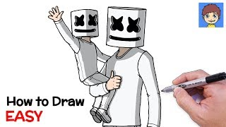 How To Draw Marshmello And Mini Mello Step By Step   Mini Marshmello Drawing
