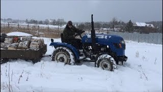 Зимой на минитракторе за дровами! русич 224