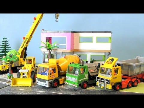 Bagger, Trucks & Lastwagen - Bau einer Villa - Baustelle für Kinder - Playmobil Vehicles for Kids