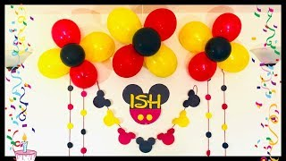 Kids Birthday Party Decoration At Home / Mickey Mouse Theme Birthday Decoration.