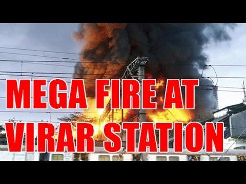 Fire at Virar Station Platform   mumbai   virar railway station news   virar station, Fire in mumbai