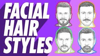 Best Men's Facial Hair & Beard Styles Or Types For Your Face Shape Mustache, Goatee, Beard, Stubble