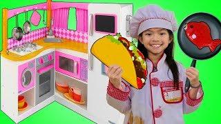 Emma Pretend Play W/ Cute Pink Kitchen Restaurant Toy Cooking Food Kids Playset