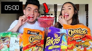 WHO CAN EAT THE SPICIEST CHIPS FASTER CHALLENGE!!!