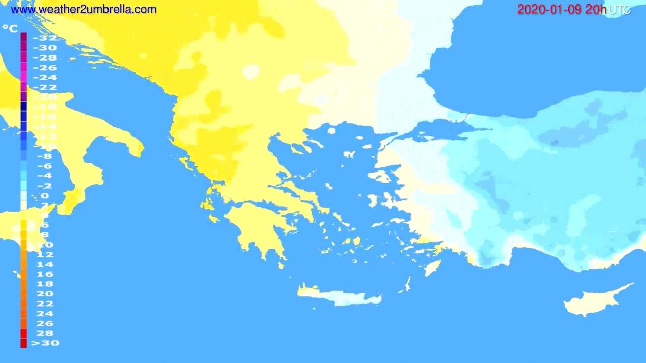 Temperature forecast Greece // modelrun: 12h UTC 2020-01-08