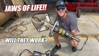 """We Found a REAL """"Jaws of Life"""" Setup at the Freedom Factory and Powered Them Up!!! (they're insane)"""