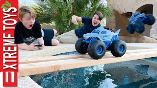 Monster Jam Megalodon Storm RC! Ethan and Cole Have a Extreme RC Challenge!