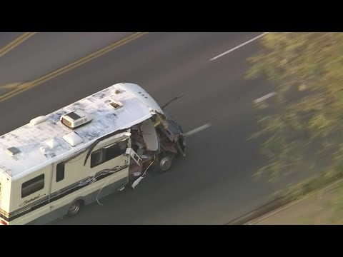 A woman in a stolen recreational vehicle led authorities on a wild chase in Los Angeles on Tuesday, smashing into cars and a palm tree before finally coming to a halt with a large dog hanging out of the shattered windshield. (May 22)
