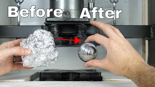 Mirror-Polished Japanese Foil Ball Challenge Crushed in a Hydraulic Press-What's Inside? - Video Youtube
